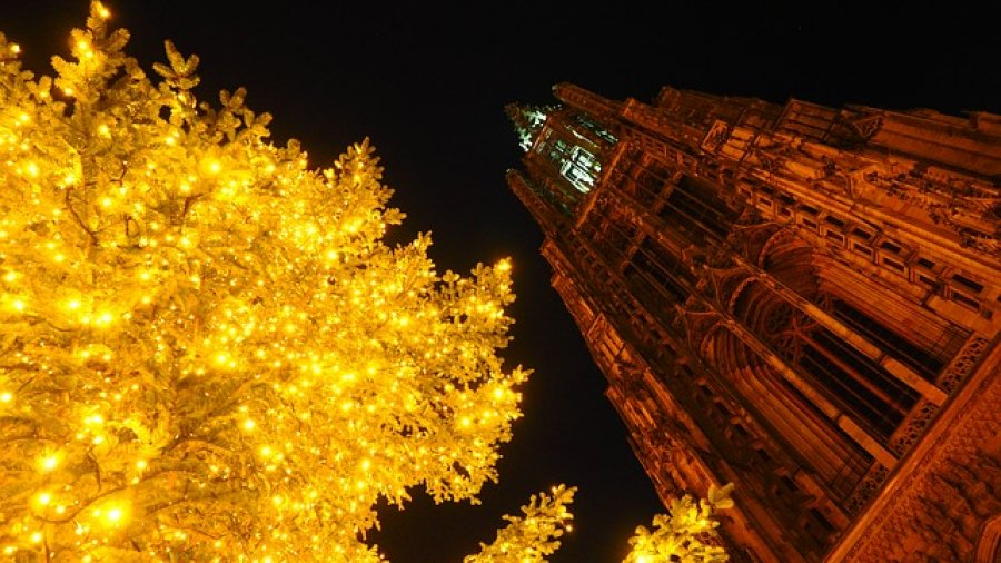 Hell beleuchteter Christbaum mit großem Christbaumständer